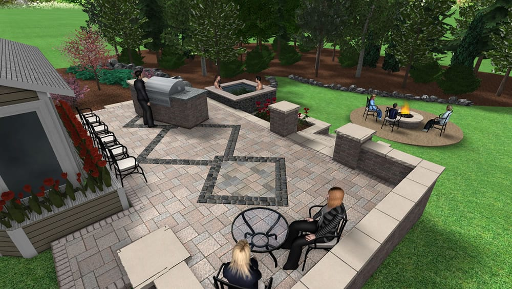 ... 3D Backyard Patio Design With Grill, Spa, ...