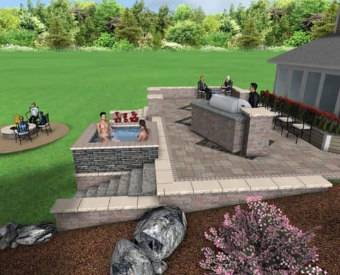 3D Backyard Patio Design with Grill, Spa, and Firepit