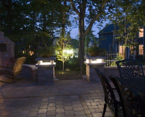 Led Lighting in Custom Brick Pillars Glendale, WI