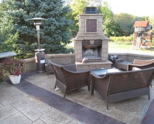 Outdoor Fireplace on Paver Patio