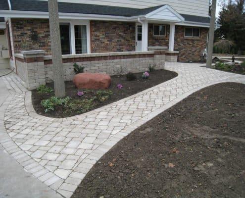 paver walkway block wall