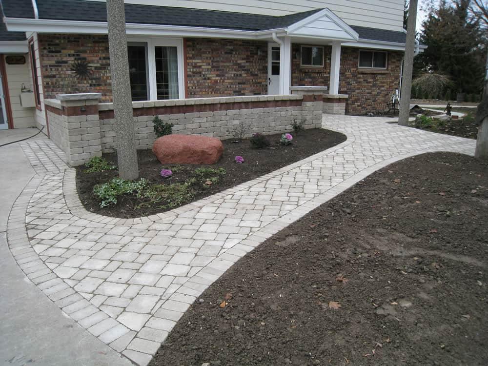 Landscaping Paver Block : Front entrances walkway brick paver paths
