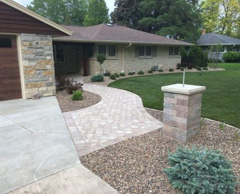 Custom Stone Front Entrance with Pillar