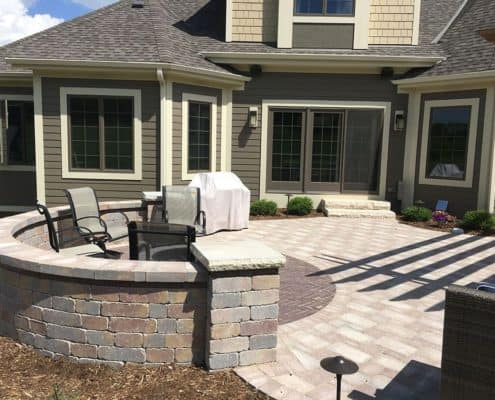 Custom Patio with Curved Wall