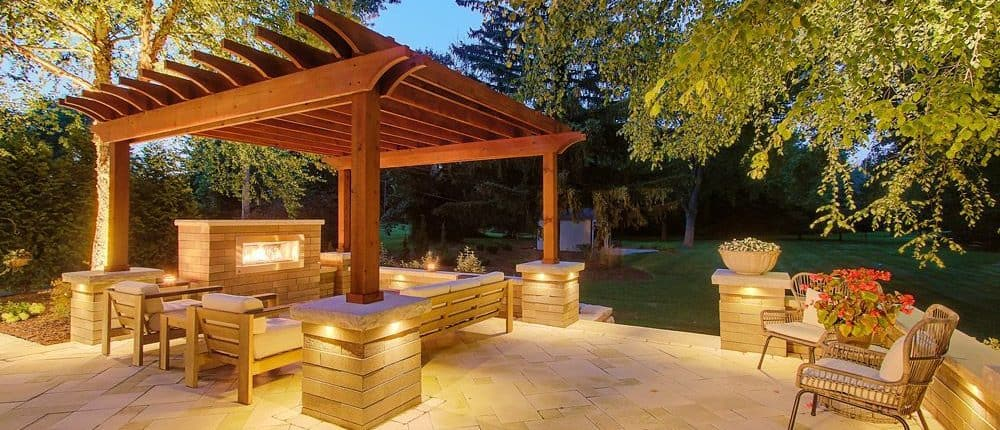 Landscape Lighting. Night Patio With LED Lights